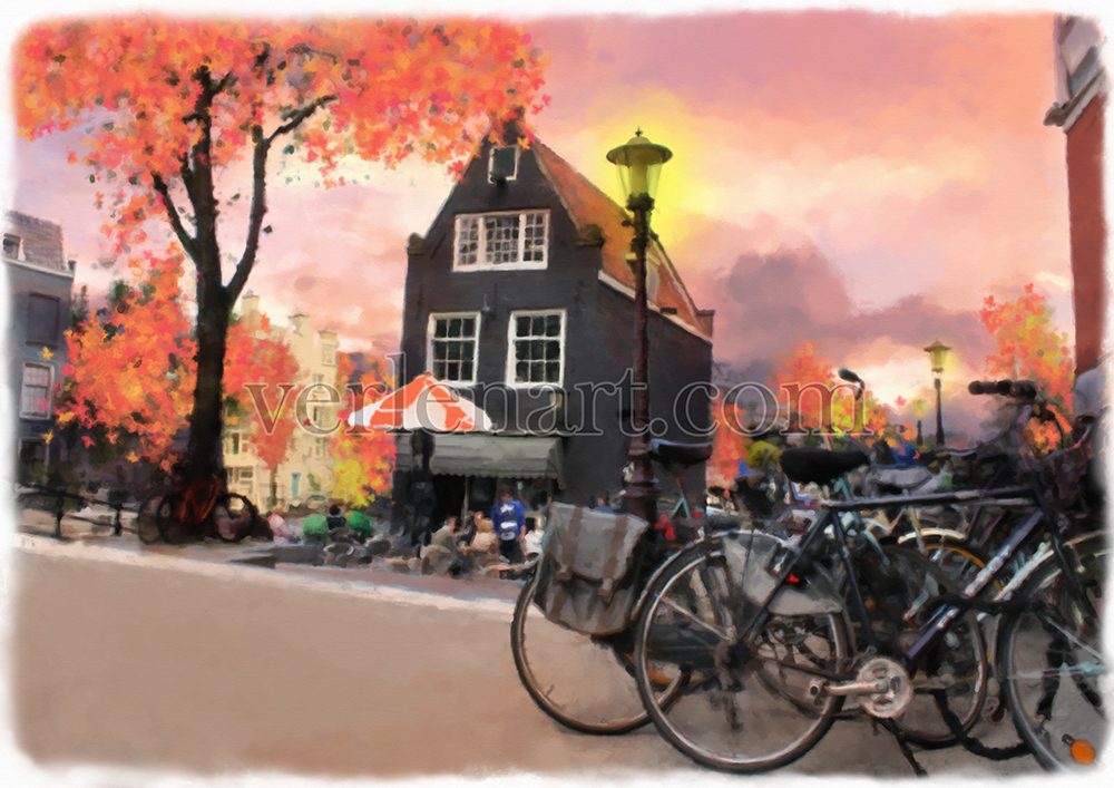Fall in Amsterdam, original watercolor art print