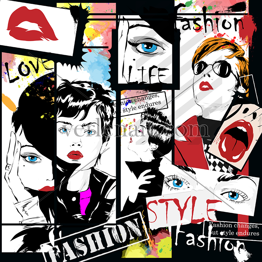 Fashion illustration collage. Fashion illustration for designers. fashion woman illustration