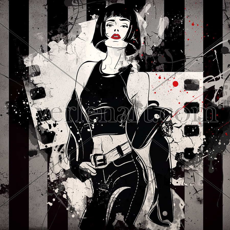 Grunge woman fashion. Buy illustrations in style grunge and street fashion